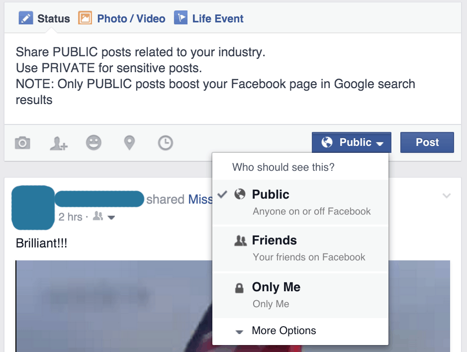 how to search information on a facebook page