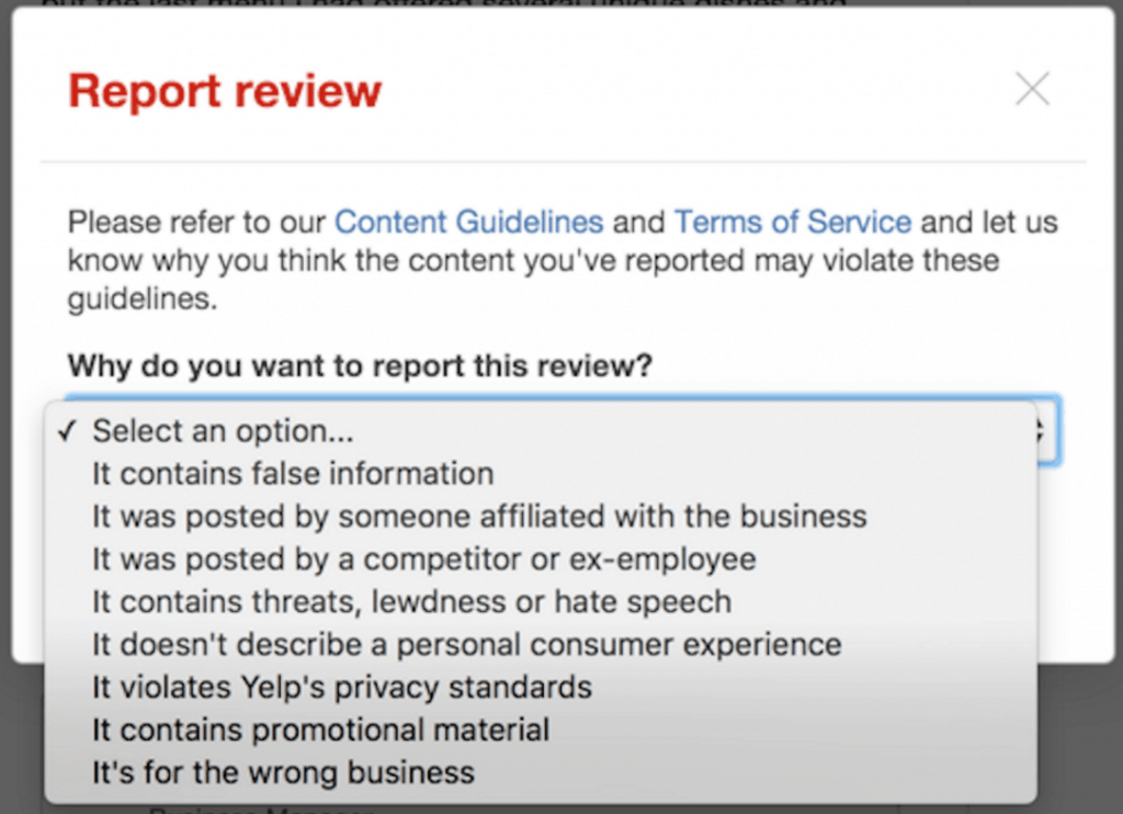 Report Yelp Review GuideLines
