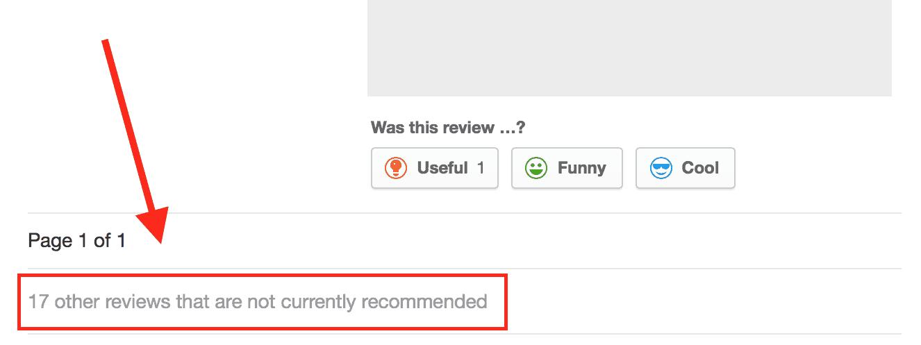 Yelp Filter - reviews not displayed