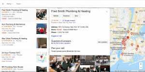 Google local 3 pack list of competitors fly out