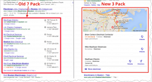the old google 7 pack and new google local 3 pack