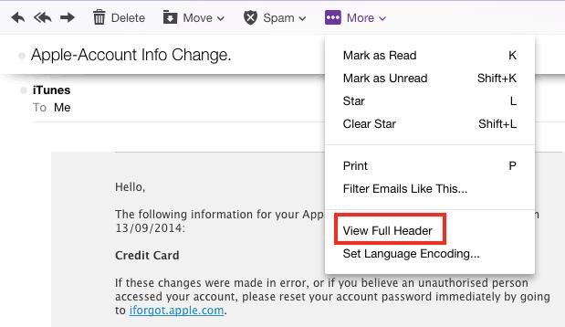 Find ip address of email sender in yahoo