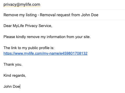 Mylife removal request email
