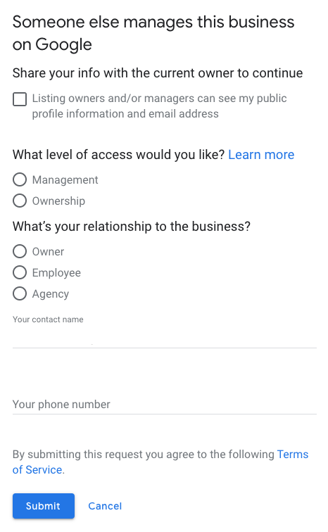 request ownership of Google My Business form